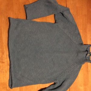 New LL Bean Cottage Teal Cotton SWEATER L Petite